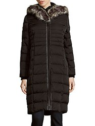 Saks Fifth Avenue Missy Faux Fur Trimmed Hooded Down Coat Black