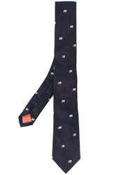 Paul Smith Camera Embroidered Tie Blue