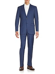 Hart Schaffner Marx Plaid Worsted Wool Suit Blue Plaid