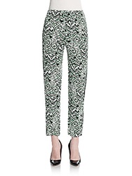 French Connection Leopard Print Cropped Pants Astro Green