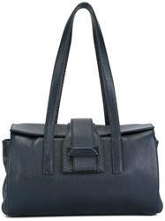 Max Mara Fold Over Fastening Tote Bag Blue