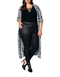 Mblm By Tess Holiday Plus Long Sleeve Open Front Cardigan Grey