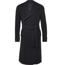 Eidos Carlo Belted Wool Tweed Coat Navy