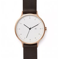 Instrmnt 01 A Rose Gold Brown Strap Watch