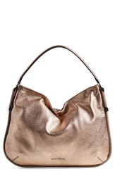 Jimmy Choo 'Zoe' Metallic Deerskin Hobo Blush