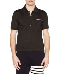 Thom Browne Short Sleeve Pique Polo Shirt Dark Gray Men's