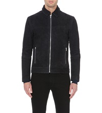 Reiss Murray Zip Up Suede Jacket Navy