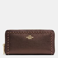 Coach Accordion Zip Wallet In Lacquer Rivets Pebble Leather Light Gold Bronze