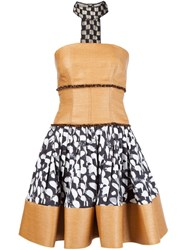Sophie Theallet Printed Raffia Bustier Dress Nude And Neutrals