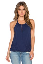 Michael Stars Keyhole Hi Low Halter Top Blue