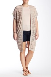 14Th And Union Open Stitch Duster Cardigan Plus Size Beige