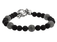 King Baby Studio Onyx Bead Bracelet With Smokey Quartz Onyx Silver Bracelet