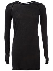 Boris Bidjan Saberi Semi Sheer Long Fitted T Shirt Black