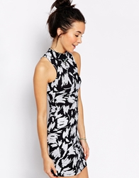 Motel Zabby Dress In Paint Marks Print Black