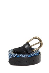 Missoni Reversible Raffia Belt Blue