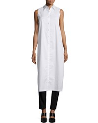 Dkny Sleeveless Long Split Back Poplin Shirt White Women's