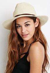 Forever 21 Wide Brim Straw Fedora Natural