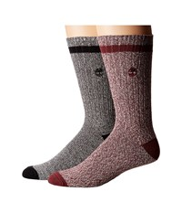 Timberland Rugged Heritage 2 Pack Crew Socks Grey Port Men's Crew Cut Socks Shoes Gray