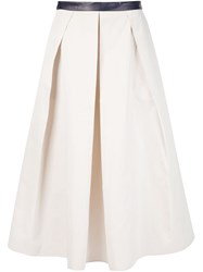 Martin Grant Box Pleated Skirt Nude And Neutrals