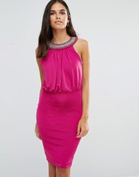 Jessica Wright Pencil Dress With Embellished Neckline Pink