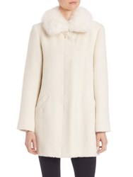 Sofia Cashmere Fox Fur Trim Suri Alpaca And Wool Coat White
