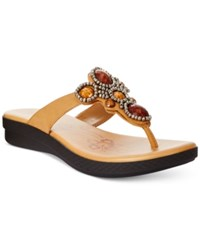 Easy Street Shoes Easy Street Begem Thong Sandals Women's Shoes Tan