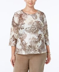 Alfred Dunner Plus Size Twlight Point Collection Embellished Paisley Print Top Multi