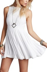 Women's Free People 'Birds Of A Feather' Embroidered Minidress White