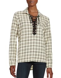Vintage Havana Lace Up Long Sleeve Flannel Plaid Shirt Ivory Black