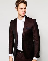 French Connection Burgundy Tonic Suit Jacket Red