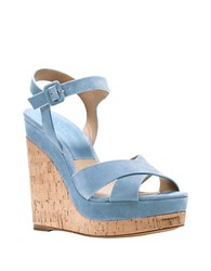 Michael Kors Cate Leather Platform Wedge Sandals Light Blue