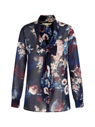 Yumi Floral Print Pussybow Blouse Navy