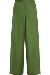 Acne Studios Krissy Sateen Wide Leg Pants Green