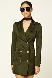 Forever 21 Double Breasted Satin Jacket Olive