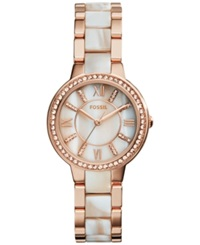 Fossil Women's Virginia Shimmer Horn And Rose Gold Tone Stainless Steel Bracelet Watch 30Mm Es3716
