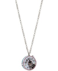 Betsey Johnson Silver Tone Cat Caviar Tin Locket Pendant Necklace