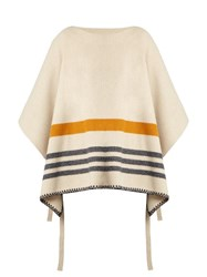 Chloe Tie Side Wool And Cashmere Blend Poncho Beige Stripe