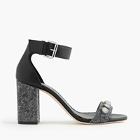 J.Crew Collection Jeweled Strappy High Heel Sandals Black Multi
