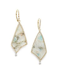 Meira T Diamonds Milky Aquamarine And 14K Yellow Gold Drop Earrings White Gold