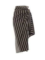 Joseph Fran Striped Knot Tie Skirt Black White