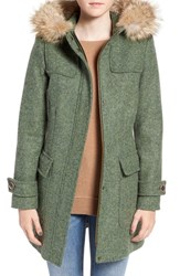 Pendleton Women's 'Portland' Italian Shetland Wool Duffle Coat With Genuine Fur Trim Moss
