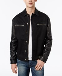 Guess Men's 1981 Leather Blocked Jacket Gilded Black Wash