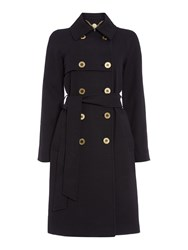 Biba Textured Jacquard Button Detail Trench Coat Navy