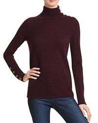 Bloomingdale's C By Button Mock Neck Cashmere Sweater Eggplant