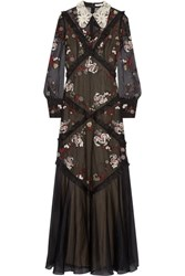 Erdem Jayne Lace Trimmed Embroidered Silk Organza Gown Black