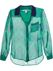 Diane Von Furstenberg Printed Semi Sheer Shirt Green