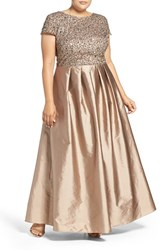 Adrianna Papell Plus Size Women's Embellished Mesh And Taffeta Ballgown