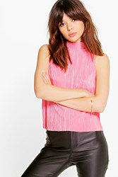 Boohoo High Neck Fine Pleat Top Salmon