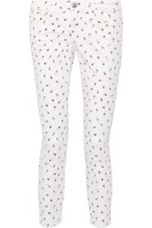 Current Elliott The Stiletto Printed Mid Rise Skinny Jeans Ivory