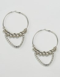 Asos Ball And Chain Hoop Earrings Rhodium Silver